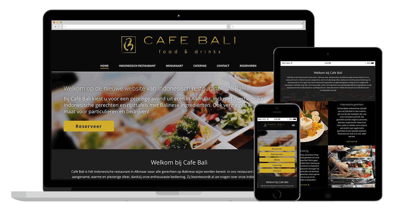 Cafe Bali restaurant website laten maken website alkmaar amsterdam