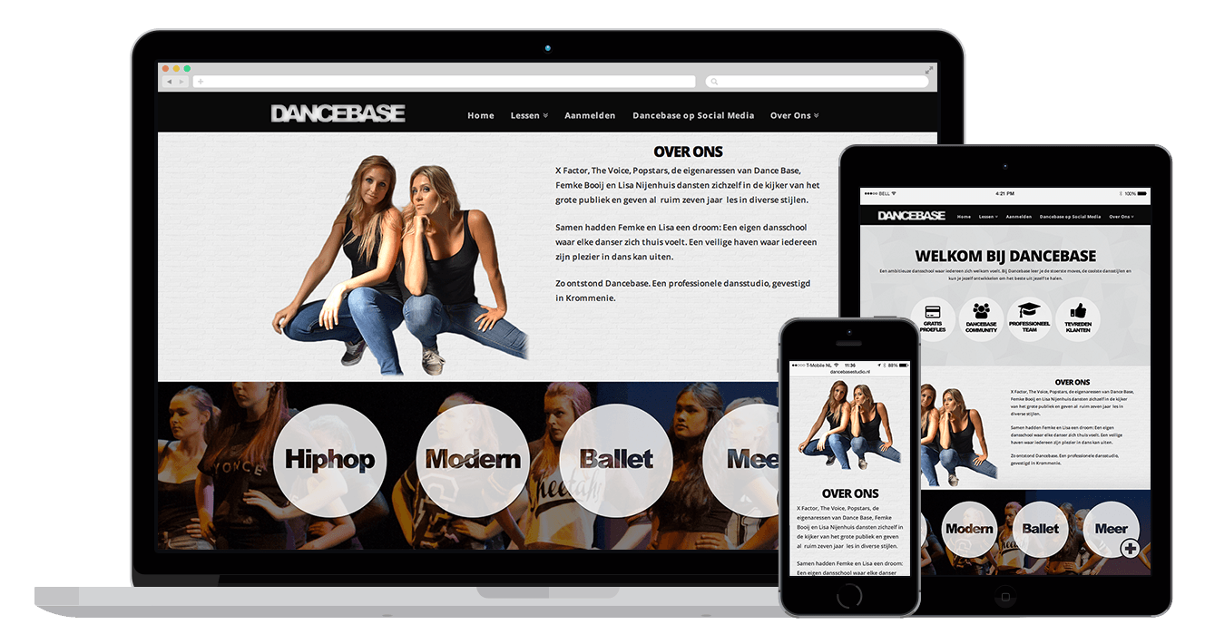 Dancebase WordPress Webdesign - website maken
