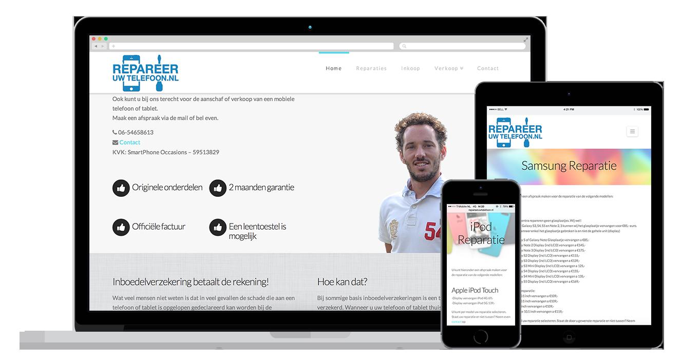 Repareeruwtelefoon website maken website alkmaar amsterdam